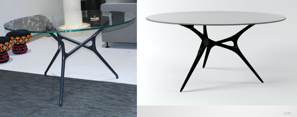 Branch Table with 3 legs vs. black aluminum E-volved