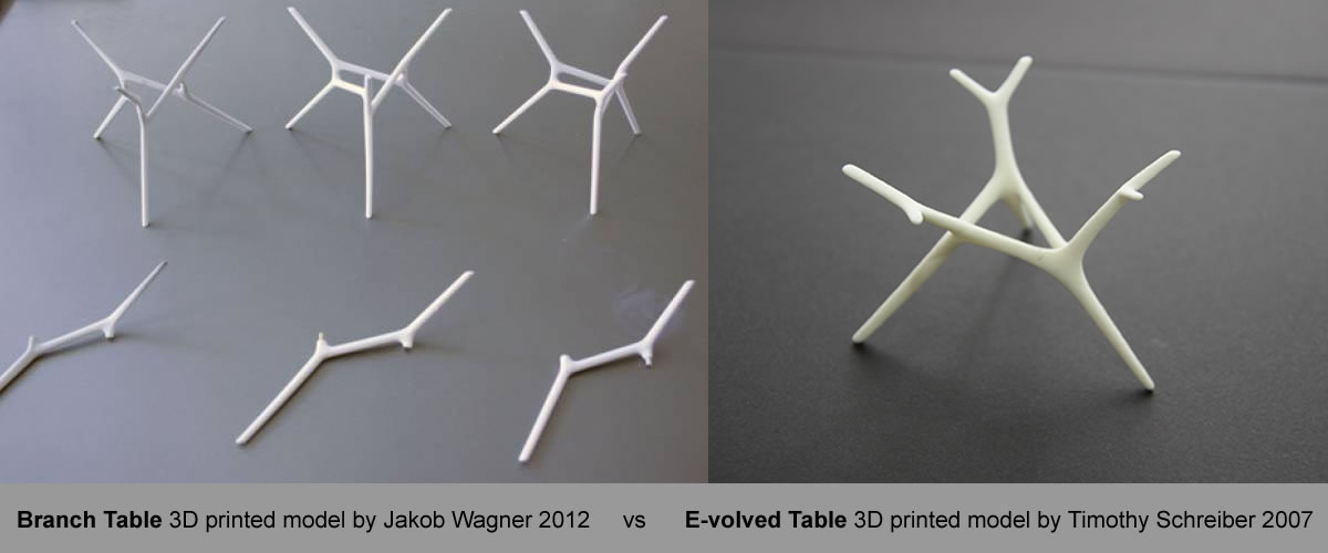 Branch Table vs. E-volved 3d Models