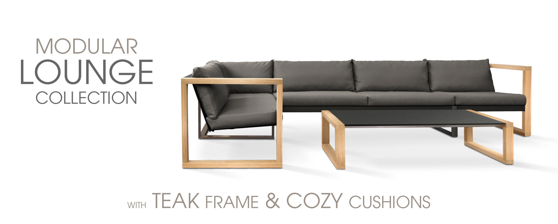 Modular Lounge set with teak frame & cozy cushions