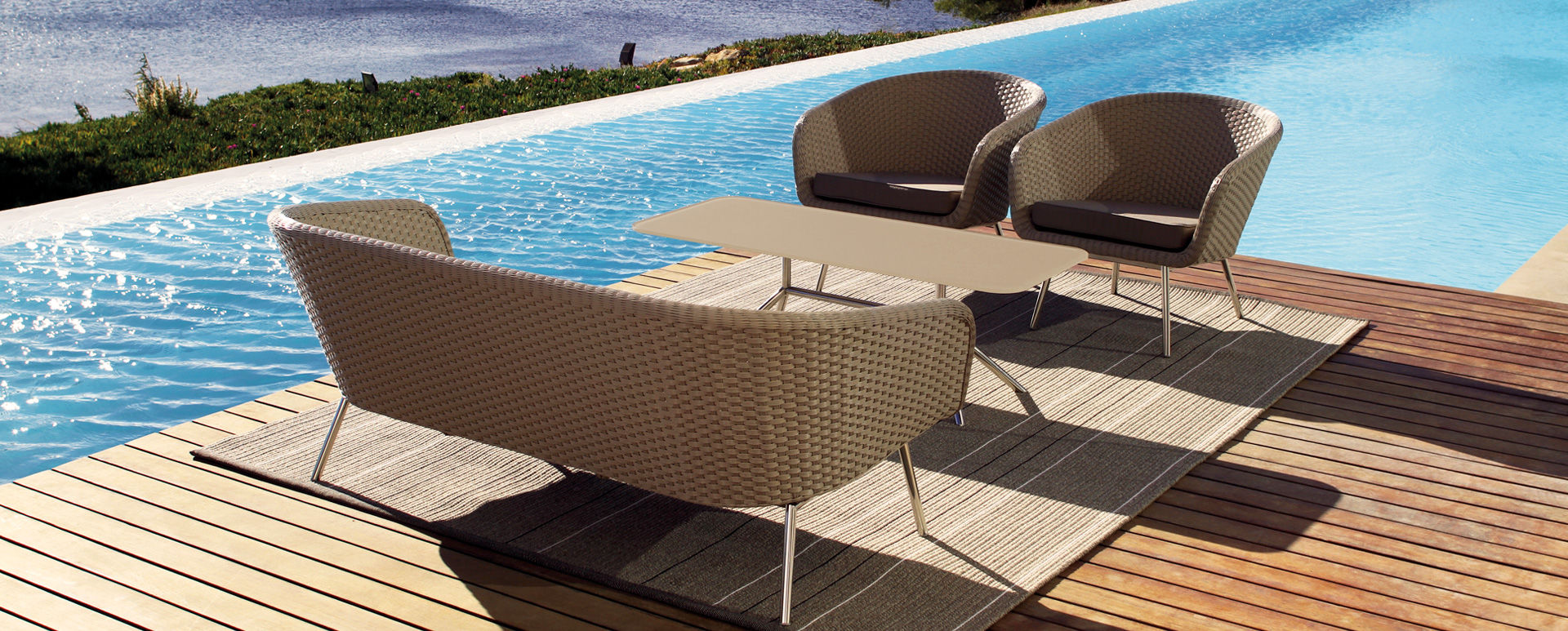 ... Patio Furniture Modular Lounge Collection With Cozy Cushions SHELL  Collection   Contemporary Retro Design Lounge Set ...